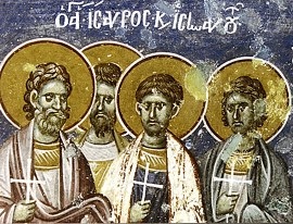 Martyrs Isaurus the Deacon, Innocent, Felix, Hermias, Basil, Peregrinus, Rufus, and Rufinus of Apollonia in Macedonia (283-284)