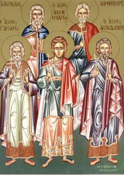 The Holy Martyrs Acyndinus, Pegasius, Anempodistus, Aphthonius, Elpidephorus and others with them
